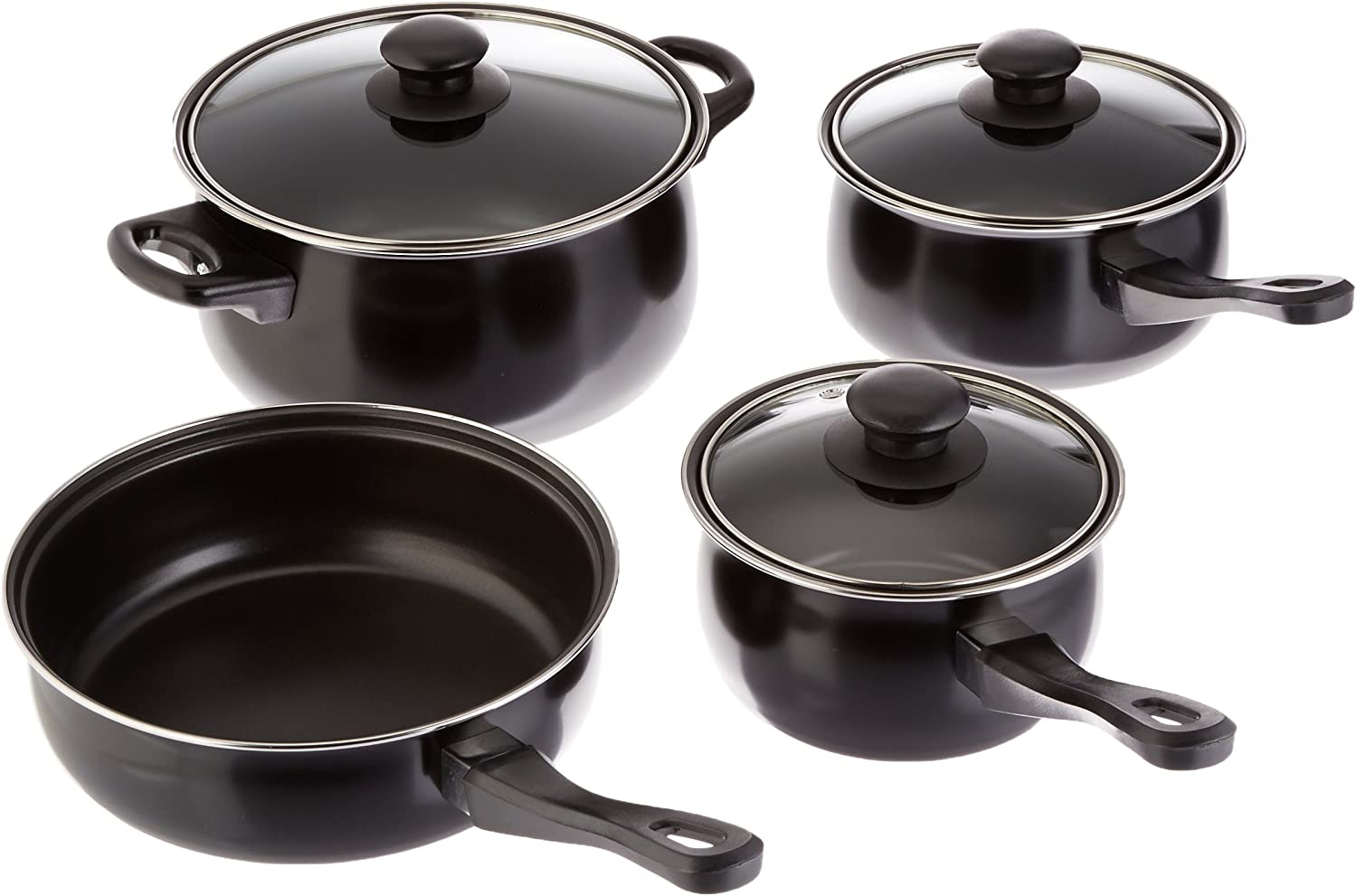 Amazon Com Gibson Home Back To Basics Carbon Steel Nonstick Cookware Set 7 Piece Black Pots And Pans Set Nonstick Kitchen Dining