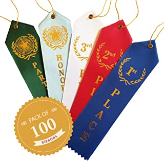 Premium Award Ribbons (100 Count) - 1st, 2nd, 3rd, Participation Ribbons & Honorable Mention Ribbons - Event Cards & Strings Included