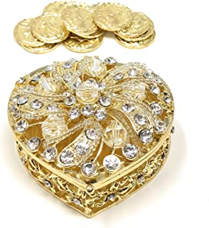 CB Accessories Wedding Unity Coins - Arras de Boda - Heart Shaped Box with Decorative Rhinestone Crystals 78 (Gold)