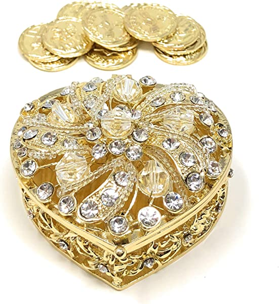 CB Accessories Wedding Unity Coins Arras De Boda Heart Shaped Box With Decorative Rhinestone Crystals 78 Gold