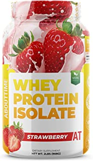 About Time Whey Isolate Protein, Non-GMO, All Natural, Lactose/Gluten Free, 24g of Protein Per Serving (Strawberry - 2 Pou...
