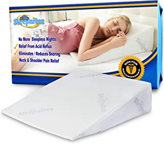 "Sleepnitez 8"" Bed Wedge Pillow for Acid Reflux, DR Recommended Height, Luxurious 3.25"" Memory Foam Pillow Wedge for Sleeping, Anti Snoring, GERD, Post Surgery + Cooling Tencel Viscose Washable Cover"