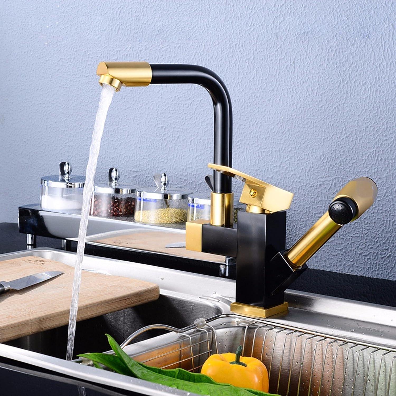 Bijjaladeva Wasserhahn Bad Wasserfall Mischbatterie Waschbecken Waschtischder Raum Aluminium Ziehen Küche Wasserhahn Warmes und Kaltes Wasser Armaturen Drehen Schwarz Gold Ein