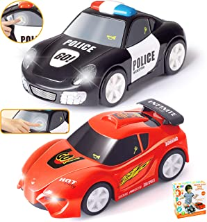 """JOYIN 2 PCs Police Car and Race Car (6.5"""" Long) with Flashing Lights and Siren Sounds, Great Vehicle Toys for 3 4 5 Years Old Toddlers, Boys, Girls and Kids Birthday Gift and Holiday Basket Stuffers."""