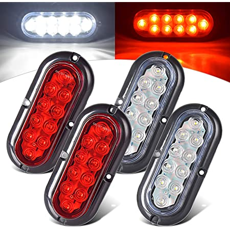 Pair of Chrome 6 Oval Clear RED LED Stop Turn Tail Light Surface Mount Trailer Truck RV Light USA Made with! Two Lights