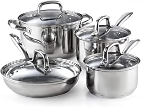 Cook N Home 2606 8-Piece Stainless Steel Cookware Set, Silver