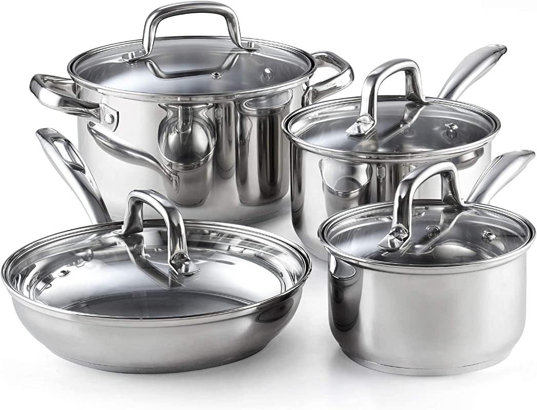 Cook N Home 02606 8 Piece Stainless Steel Cookware Set Silver
