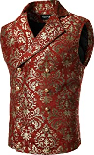 VATPAVE Mens Victorian Double Breasted Vest Gothic Steampunk Waistcoat