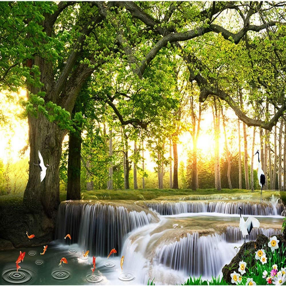Amazon Com Xbwy Custom 3d Flowing Water Background Wallpaper Green Tree Wallpaper 3d Nature Wallpaper Wall Mural Photo Wallpaper 280x200cm Furniture Decor