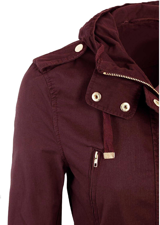 KOGMO Womens Military Anorak Safari Jacket with Pockets