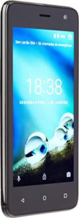 Smartphone Multilaser MS45 4G 1GB Preto Tela 4.5 pol. Câmera 8 MP + 5 MP Quad Core 8GB Android 7.0 - NB720