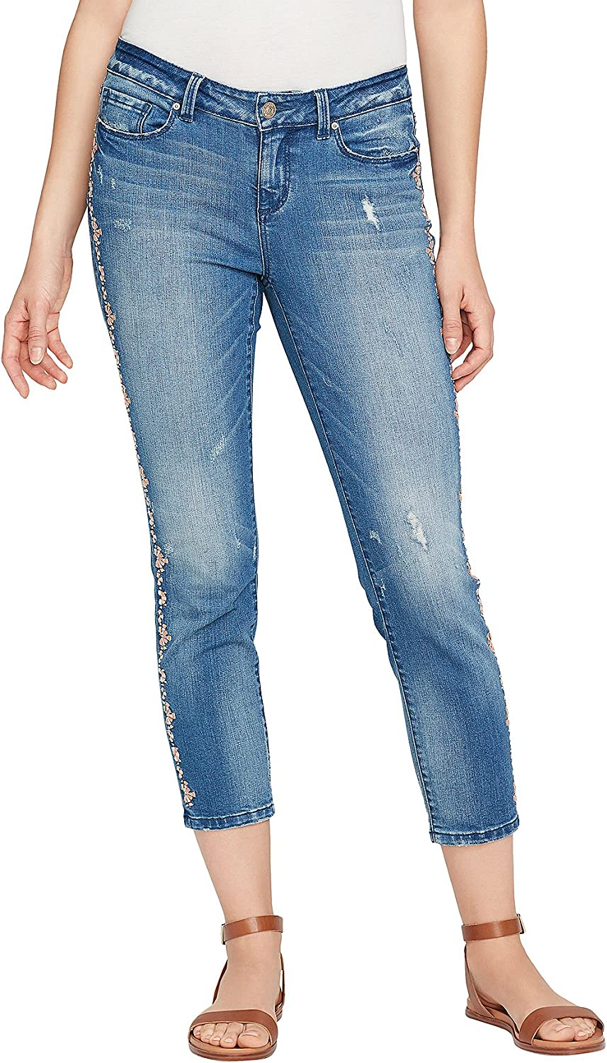 Vintage America bluees Floral Embroidery Detail Ankle Jeans