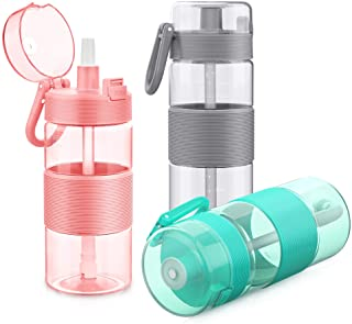 Triple Tree Water Bottle with Straw, Tritan Plastic Sports Water Bottle with Flip-Up Lid, Spring Buckle, for Outdoor Hiking Camping Travel - BPA Free