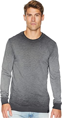 Oil-Washed Long Sleeve T-Shirt w/ Neckline Detail