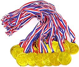 Honbay 24PCS Kids Children's Gold Plastic Winner Award Medals for Parties, Games, Sports, Dress Up and More