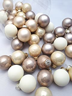 45 Pc Mini Pearl Mix Multi Coloured Beige Ivory Latte Decorative Hanging Ornaments Indoors Glass Xmas Christmas Tree Decor Ball Bauble Hanging Party Home Holiday Decorations