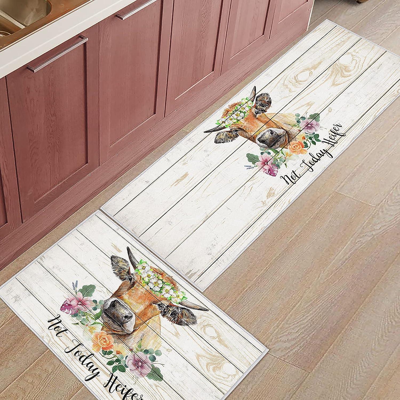 BestLives Cow Kitchen Rug Set of 2 Piece Not Today Heifer Farmhouse Kitchen Rugs Flower Floor Mats Non-Slip Area Runner Carpet Washable Indoor Doormat Pad Sets, 15.7x23.6in+15.7x47.2in