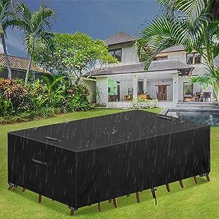 Essort Garden Furniture Covers Waterproof Garden Table Cover Rectangular 420D Heavy Duty Oxford Fabric Patio Furniture Cov...