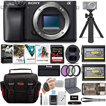 Sony a6400 Mirrorless Digital Camera (Body Only) Bundle with High Speed 64 GB SDXC Card, Filter Kit, Three Batteries, USB Charger, Corel Photo Suite, Messenger Bag, Flexible Tripod, SD Card Wallet