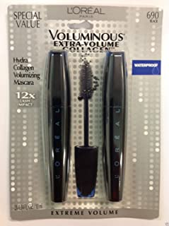 L'oreal Voluminous Extra-volume Collagen Waterproof Mascara, Black #690 Special Value ( 2 in 1 ) New.