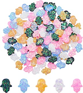 PandaHall 150pcs 5 Colors Resin Beads Hamsa Hand/Hand of Fatima/Hand of Miriam Spacer Beads Imitation Opal Charms for Brac...