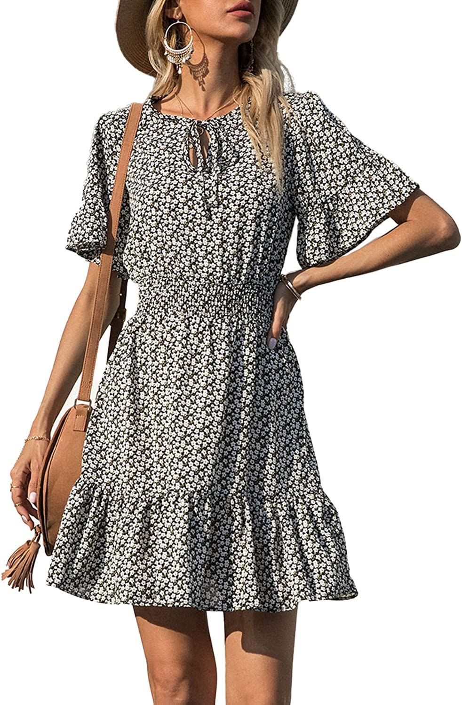 PRETTYGARDEN Women's Summer Boho Short Dresses Floral Ranking TOP20 Sale item Print Tie