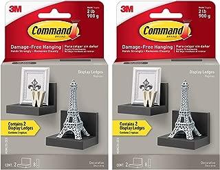 Command Display Ledges, Slate, 2-Ledges, 8-Medium Foam Strips(Pack of 2)