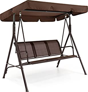 Best Choice Products 3-Seater Outdoor Convertible Canopy Swing Chair Bench w/Weather..