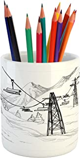 Lunarable Winter Pencil Pen Holder, Ski Lift with Fir Trees Monochrome Seasonal Holiday Destination Themed Sketch, Ceramic Pencil Holder for Desk Office Accessory, 3.6