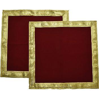 Caaspy Cotton Pooja Aasana (40 x 40 cm, Red & Gold)