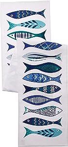 DII Santorini Fish Printed Table Runner, Multi