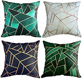 Multiart Set of 4, Decorative Throw Pillow Covers for Couch, Sofa, Bed, Modern Geometric Square Pillow Case Covers, Cushion Cover Home Decorative 18 x 18inch, Linen/Cotton, Blue/Green/Emerald/Beige