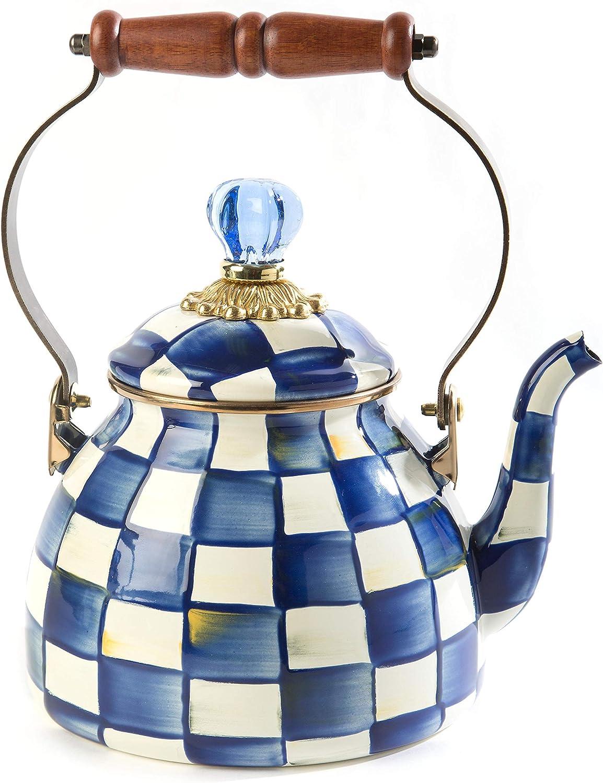 MacKenzie-Childs Year-end annual account Royal Check Enamel Teapo Tea Kettle Japan Maker New Decorative