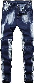 AIYINO Mens Ripped Slim Straight Fit Stretch Biker Jeans All Waist(36W x 33L, Navy-1