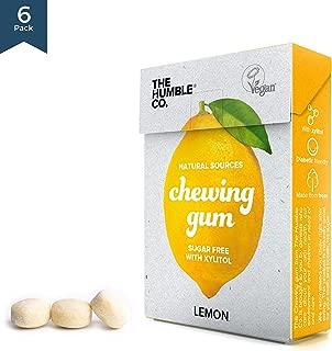 Natural Chewing Gum (6pk) – Keto, Vegan, Sugar Free, Aspartame Free, Non GMO, 100% Xylitol for kids and adults - (Lemon)