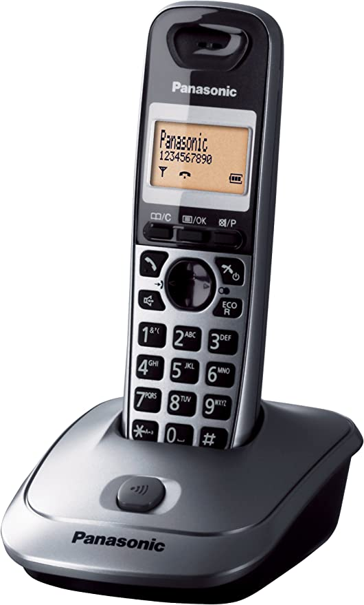 Panasonic KX-TG2511JTM - Teléfono (DECT, LCD, AAA, Pared) Color Negro, Gris, Naranja [Versión Importada]