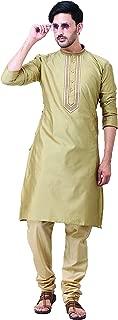 FOCIL Silk Blend Brown Kurta Pyjama with Embroidary for Men