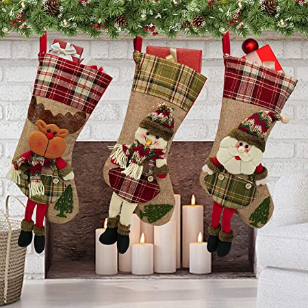 Cross stitch wooden Christmas socks ornaments set of three Christmas stockings rustic Xmas sox decorations country Eco friendly holiday tree
