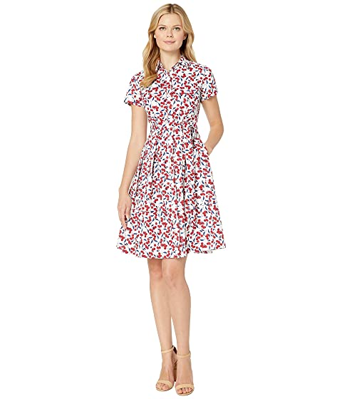 a4b945e0291 Donna Morgan Cherry Printed Cotton Poplin Shirtdress at Zappos.com