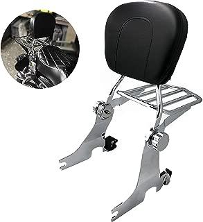 HTTMT ASBB09- Chrome Adjustable Detachable Sissy Bar Compatible with 2004-later Harley Sportster Backrest w/Rack