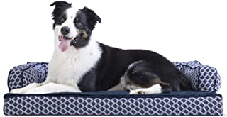 FurHaven Pet Dog Bed   Memory Foam Plush & Decor Comfy Couch Sofa-Style Pet Bed for Dogs & Cats, Diamond Blue, Large