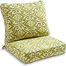 South Pine Porch AM7820-SHOREHAM 2-Piece Outdoor Deep Seat Cushion Set, Shoreham Green Ikat