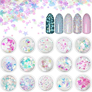 15 Boxes Holographic Nail Art Sequins Nails Glitter Iridescent Flakes Paillette for Nail Art DIY Decoration