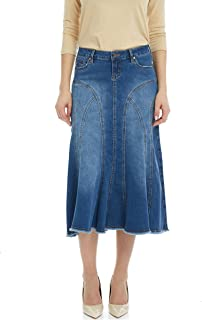 Esteez Women's Denim Midi Skirt- A-Line Flared - Stretch Jean - Aspen