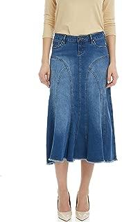 Esteez Women's Denim Midi Skirt- A-Line Flared - Stretch Jean - Aspen