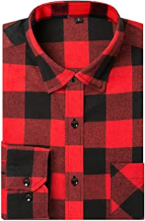 Sponsored Ad - DOKKIA Men's Flannel Shirts Long Sleeve Buffalo Plaid Checked Button Up Dress Jacket