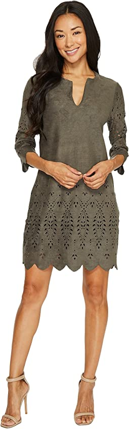 Laser Cut Faux Suede Dress