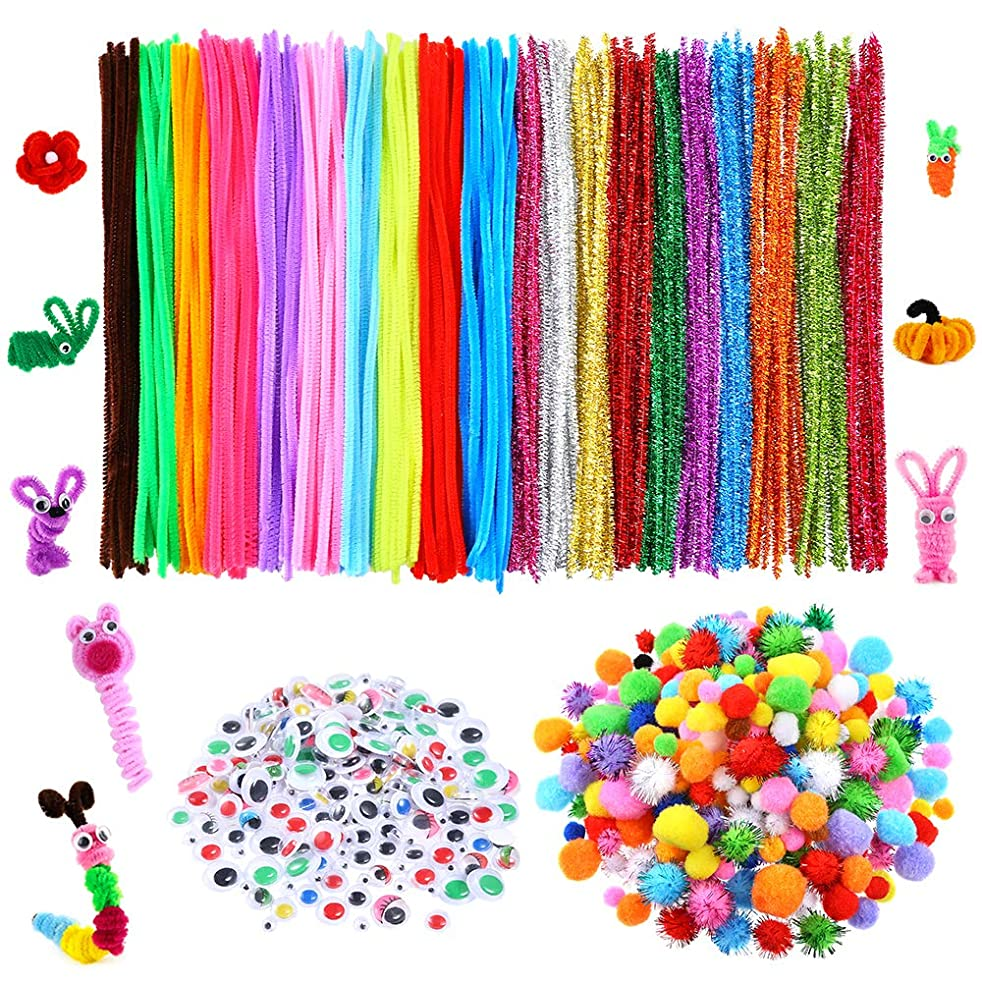Caydo 750 Pieces Pipe Cleaner Sets, Including 250?Pieces Pipe Cleaners, 300 Pieces Assorted Colors Pompoms, 200?Pieces Wiggle Googly Eyes for Creative Crafts Decorations