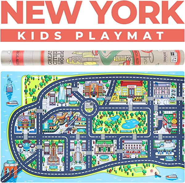 Kids Play Mats For Toddlers Educational Road Car Rug With Map Of New York City Large 75 X 45 Floor Playmat For Children Ideal Kids Rugs For Playroom Bedroom Activity Room For Toys Cars