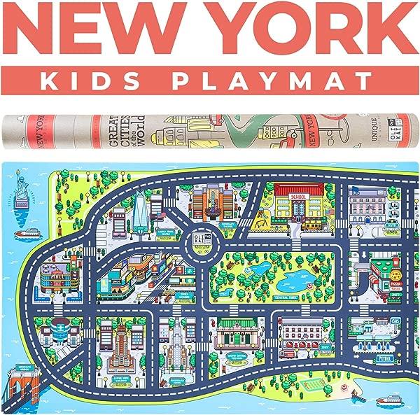 儿童游戏垫幼儿教育公路汽车地毯与纽约市地图大型 75x45 地板儿童游戏垫理想儿童地毯游戏室卧室活动室玩具车
